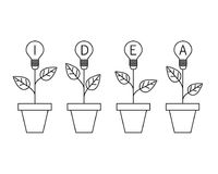 Lamp light bulb plant in the pot. Growing idea concept. Line design. royalty free illustration