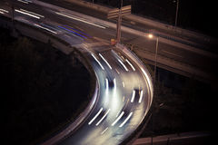 Lamp light at night on the highway. Shanghai night view of the viaduct Royalty Free Stock Images