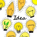 Lamp, light yellow vector illustration poster black line Stock Image