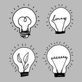 Lamp, light yellow vector illustration poster black line Royalty Free Stock Photo