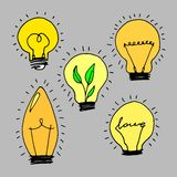 Lamp, light yellow vector illustration poster black line Royalty Free Stock Photography