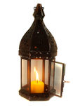Lamp with lighted candle Royalty Free Stock Image