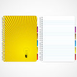Lamp and lighting cover. Notebook and blank page Stock Photo