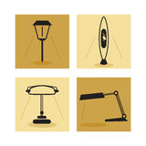 Lamp, lighting icons. Bar icon lamp on a yellow background stock illustration