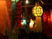 Lamp lighting made of THAI traditional handmade craft. Colorful paper, textiles bamboo lantern lamp lighting made of THAI traditional handmade craft vintage Stock Images
