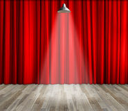 Lamp with lighting on stage. Lamp with red curtain and wooden floor interior background. Stock Photography