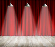 Lamp with lighting on stage. Lamp with red curtain and wooden floor interior background. Stock Photos