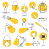 Lamp Lights. Line Drawing of a Set of Lamp and Lighting Equipments royalty free illustration