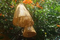 Free Lamp Made Of Bamboo Woven Royalty Free Stock Photography - 154670627