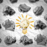 Lamp made ​​of paper and crumpled paper wads Stock Photos