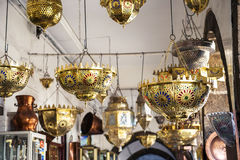 Lamp market. In the Old Town (Medina Royalty Free Stock Photo