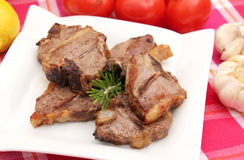 Lamp meat. Some grilled lamp meat with rosemary royalty free stock photo
