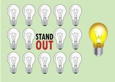 Lamp met licht en geen licht verschillend voor te stellen om te zijn of duidelijk uitkomend, Vectorillustratie Stock Afbeeldingen