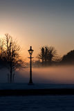 A Lamp in the misty Phoenix park. Dublin, Ireland Royalty Free Stock Photo