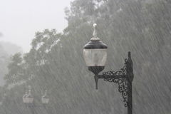 Lamp in a misty raining Royalty Free Stock Images