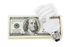 Lamp and money Stock Images