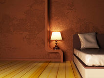 A lamp near the bed. Rendering Stock Photo