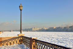 Lamp on Neva River Embankment in winter Royalty Free Stock Photos