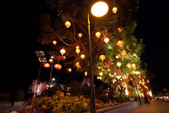 Lamp and night scene near street Royalty Free Stock Photo