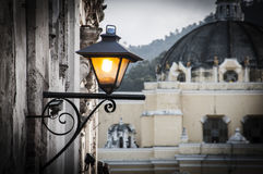 Lamp. An old lamp in the town of Antigua in Guatemala Royalty Free Stock Image