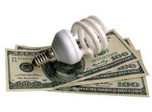 Lamp On Dollars Stock Photography