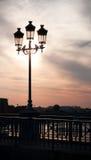 Lamp op brug Stock Foto's
