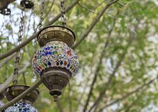 Lamp in oriental style with a mosaic design stock photos