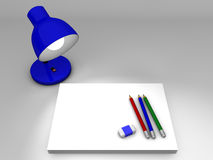 Lamp paper and pencil Stock Photography