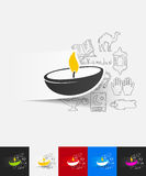 Lamp paper sticker with hand drawn elements. Hand drawn simple elements with lamp paper sticker shadow Royalty Free Stock Photography