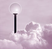 Lamp post. In the sky (pink Royalty Free Stock Photos