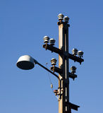 Lamp post. Close view of an old power/lamp post stock photography
