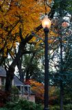 Lamp post in autumn neighborhood with house and colorful trees - one with a squirrel in it Royalty Free Stock Photos