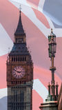 Lamp Post and Big Ben London blended with British Flag Union Jac Royalty Free Stock Photography