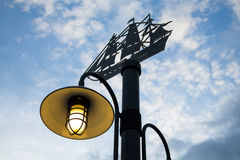 Lamp post. And blue sky stock images