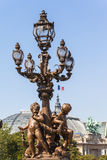 Lamp post on the bridge of Pont Alexandre III Royalty Free Stock Photography