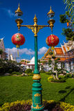 Lamp post with chinese lanterns Royalty Free Stock Image