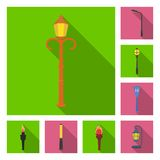 Lamp post flat icons in set collection for design. Lantern and lighting vector symbol stock web illustration. Lamp post flat icons in set collection for design Royalty Free Stock Photography