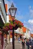 Lamp post with flower basket Royalty Free Stock Photography