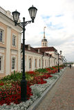 Lamp-post and gardens Kazan Russia. A view of the Kremlin grounds in Kazan Russia Stock Image