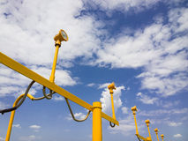 Lamp post. Guiding planes for landing Stock Photo
