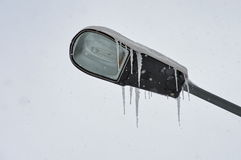 Winter, snow and lamp post Royalty Free Stock Images