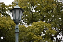 Lamp post in Japanese castle park Stock Image