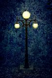 A lamp post in the middle of the woods, on a dull and dreary day royalty free stock photography