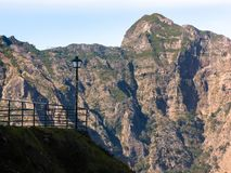 Lamppost in mountaineous area of Madeira, Portugal. Off the beaten path, exploration, mindfulness, peace and quiet. stock photo