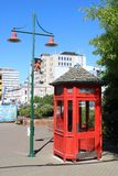Lamp post, red telephone box, Christchurch, NZ Stock Images