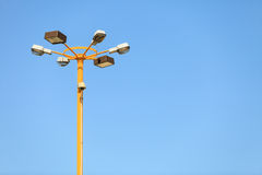Lamp post with security camera. Stock Image