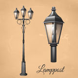 Lamp Post Set. Retro vintage lamp post set with electricity lantern isolated vector illustration royalty free illustration