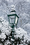 A lamp post in the snow Royalty Free Stock Images