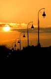 Lamp post at sunset Royalty Free Stock Photos