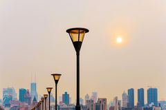 Lamp posts along the bund Royalty Free Stock Image